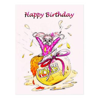 Honey Bunny Happy Birthday fun pink drawing card Postcard