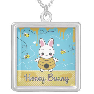 Honey Bunny Square Pendant Necklace