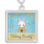 Honey Bunny Square Pendant Necklace
