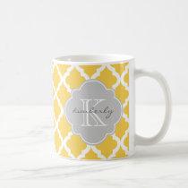 Honey Butter and Gray Moroccan Quatrefoil Print Coffee Mug