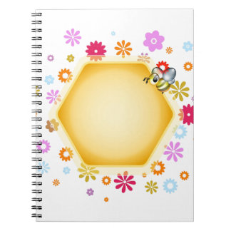 Honey cell with cute honeybee spiral notebooks