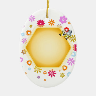 Honey cell with cute honeybee christmas ornaments