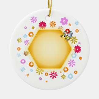 Honey cell with cute honeybee ornaments