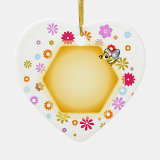 Honey cell with cute honeybee christmas tree ornaments