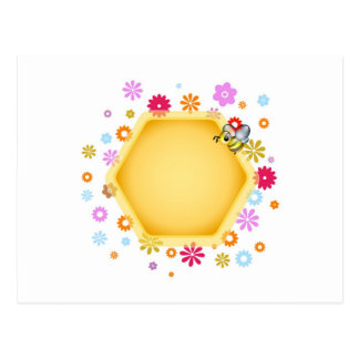 Honey cell with cute honeybee postcard