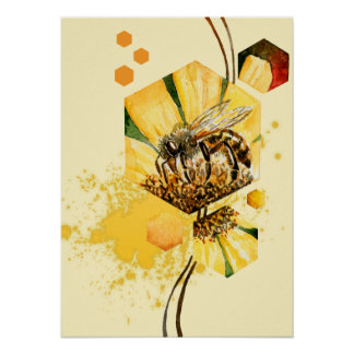 Honey comb bee yellow flower posters