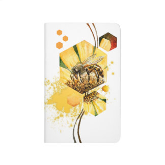 Honey comb bee yellow flower watercolor painting journal