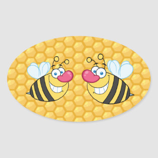 Honey Comb Bees Oval Sticker