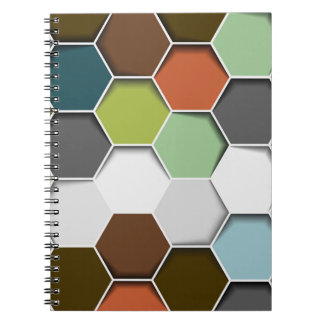 Honey Comb Geometric Pattern Spiral Notebook