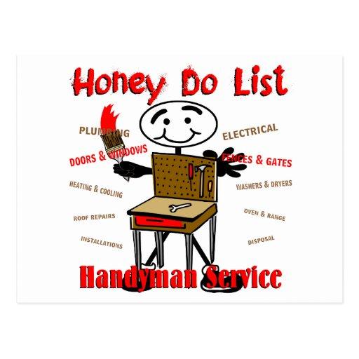 Honey Do List Postcard