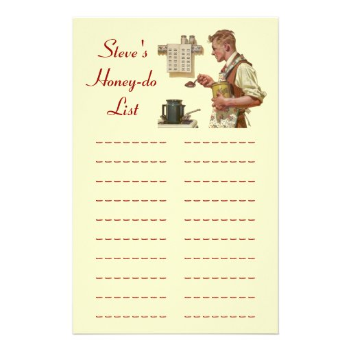 Honey-dos List chore Lists Project Plan Stationery