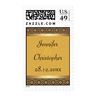 Honey Gold and Brown Floral Diamond Damask Wedding Postage