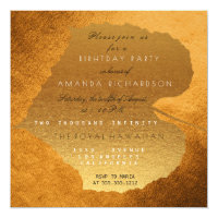 Honey Gold Autumn Fall Golden Leaves Birthday Invitation