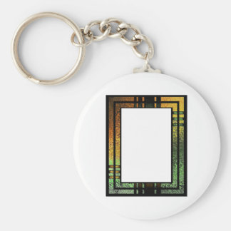 Honey Gold Green Tinted Stained Glass Frame Keychain