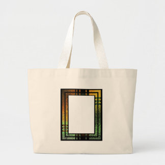 Honey Gold Green Tinted Stained Glass Frame Large Tote Bag