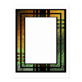 Honey Gold Green Tinted Stained Glass Frame Postcard