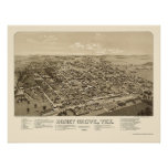 Honey Grove, TX Panoramic Map - 1886 Poster
