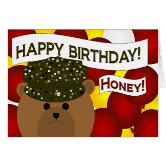 Honey - Happy Birthday Army Soldier Sweetheart! Card