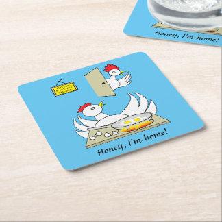 Honey  I'm Home Chickens Square Paper Coaster