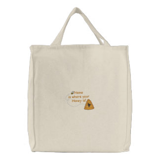 Honey Is Home Embroidered Tote Bag
