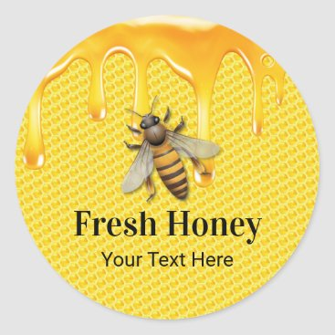 Honey Jar Fresh Bee & Honeycomb Apiary Beekeeper Classic Round Sticker