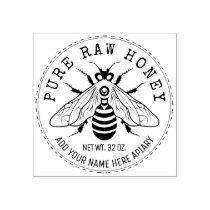 Honey Jar Labeling   Honeybee Honeycomb Bee Apiary Rubber Stamp
