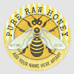 "Honey Jar Labels | Honeybee Honeycomb Bee Apiary<br><div class=""desc"">These bee-autiful personalized beekeeper round sticker labels are perfect for jars of honey or other honey products. They feature original bee artwork with a honeycomb and stripe pattern, along with dripping honey along the bottom edge. Use the easy templates to add your own text. The sample shows the words &quot;PURE...</div>"