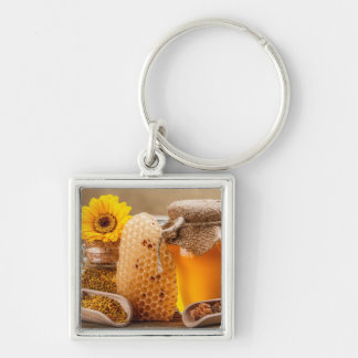 Honey Silver-Colored Square Keychain
