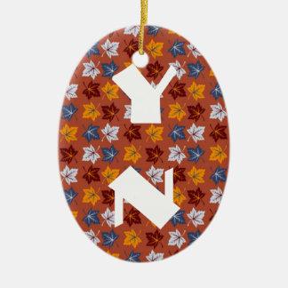 Honey Leaves monogram Ceramic Ornament