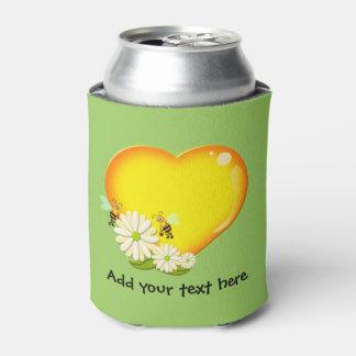 Honey Love Heart, Honey Bees and Flowers Custom Can Cooler