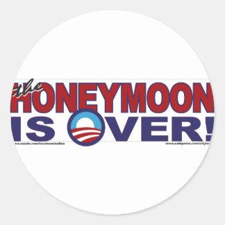 HONEY-MOON-IS-OVER CLASSIC ROUND STICKER