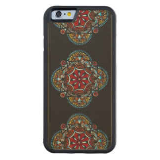 Honey nest - bohemian tribal orange mandala chic carved maple iPhone 6 bumper case
