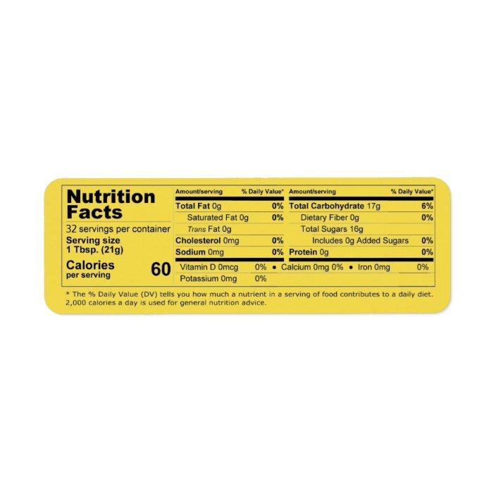 Honey Nutrition Facts Horizontal Label Zazzle Com