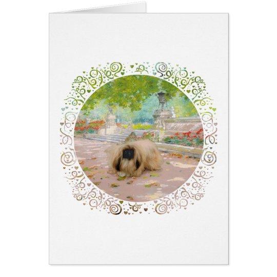 Honey Pekingese in Floral Setting Card