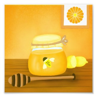 Honey, Please Jar of Honey Amber-Gold Art Photo Print