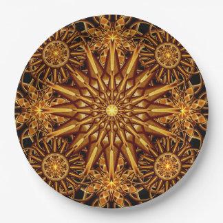 Honey Star Mandala Paper Plate