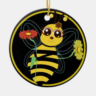 Honey Toon Bee Blk Ornament