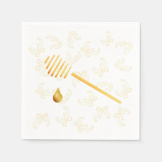 Honey Wand with Leaves on Paper Napkin