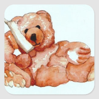 "Honeybear on the Phone, ""Bears Bears Bears"" Square Sticker"