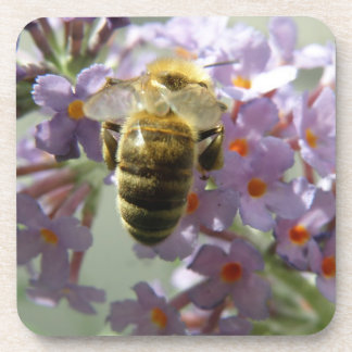 Honeybee and Buddleia Flowers Cork Coasters