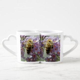 Honeybee and Buddleia Flowers Lovers Mugs
