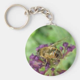 Honeybee and Purple Flowers Keychain