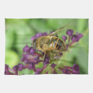 Honeybee And Purple Flowers Kitchen Towel