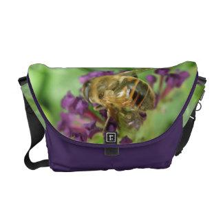 Honeybee and Purple Flowers Messenger Bag