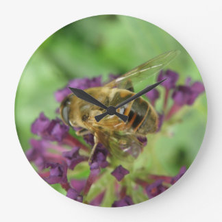 Honeybee and Purple Flowers Wall Clock