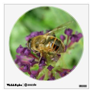 Honeybee and Purple Flowers Wall Decal