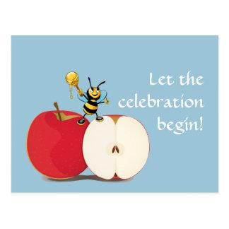 Honeybee Apple Rosh HaShana Postcard