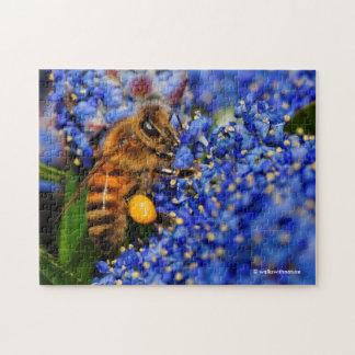 Honeybee: Busy California Lilac Pollinator Jigsaw Puzzle