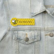 """Honeybee Cartoon 3.0"""" X 1.5"""" Shaped Badge"""