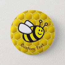 Honeybee Cartoon Button
